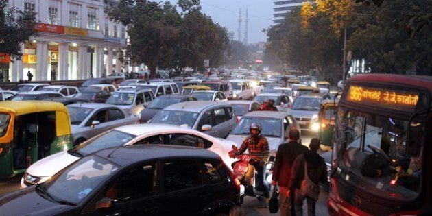 NEW DELHI, INDIA - JANUARY 1: Traffic jam on the first day of New Year eve at Connaught Place, on January...