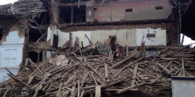 A building stands damaged after an earthquake in Kathmandu, Nepal, Saturday, April 25, 2015. A strong...