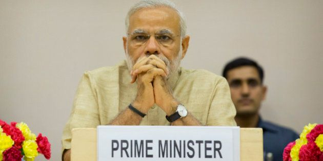 Indian Prime Minister Narendra Modi attends a function to mark the national Panchayati Raj or village...