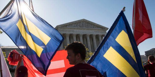 IMAGE DISTRIBUTED FOR HUMAN RIGHTS CAMPAIGN - Supporters of marriage equality gather outside the Supreme...