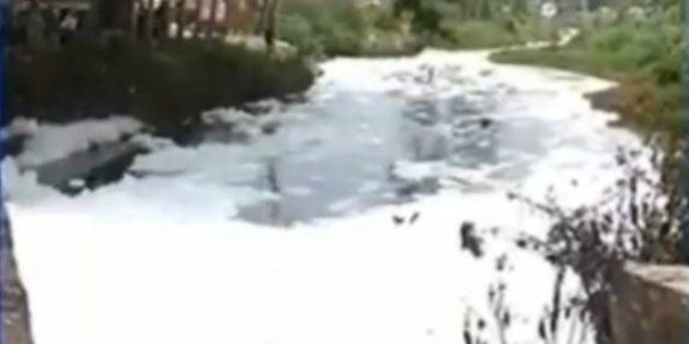Filthy Foam From Varthur Lake Spills Onto Bengaluru