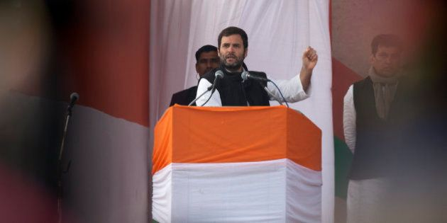 India's opposition Congress party Vice President Rahul Gandhi addresses an election campaign rally ahead...