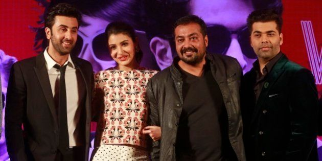 Director Anurag Kashyap, second right, poses with actors Ranbir Kapoor, left, Anushka Sharma and Karan...