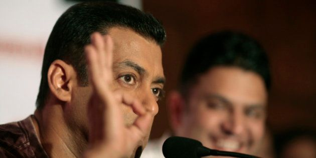 Bollywood actor Salman Khan interacts with the media ahead of the release of his new movie 'Ready' in...