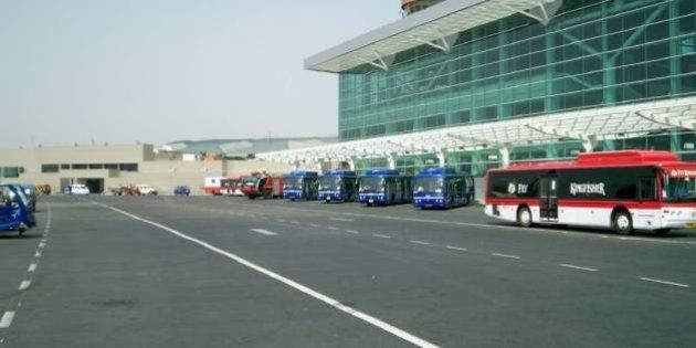 View from the bus. . . airside new terminal 1D of Indira Gandhi International Airport,