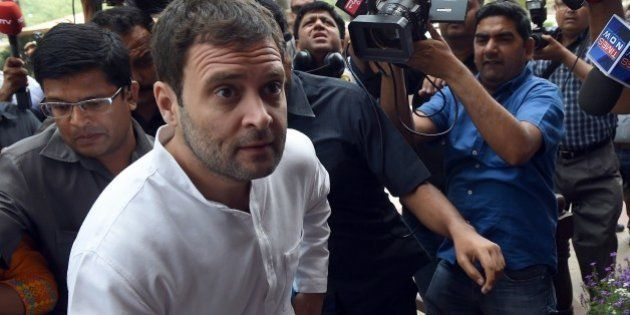 Congress Party Vice President, Rahul Gandhi arrives at Parliament in New Delhi on April 20, 2015. As...