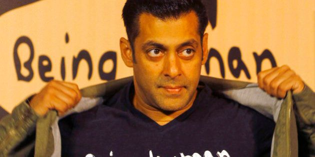 FILE – In this Thursday, Jan. 17, 2013 file photo, Bollywood star Salman Khan poses wearing a Being...