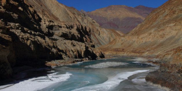 Scenic Zanskar river - beginning to freeze - once completely frozen, the famous Chadar trek on the river