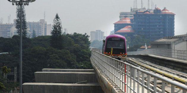 The Bangalore Metro Rail Corporation's Namma metro train start its inagural run in Bangalore on October...