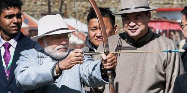 PHOTOS: Modi Wore Traditional Dress, Played An Instrument, Shot An Arrow During Colourful Mongolia