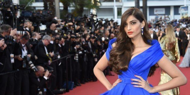 Indian actress Sonam Kapoor poses as she arrives for the screening of the film 'The Sea of Trees' at...
