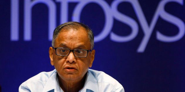 FILE- In this June 15, 2013 file photo, Infosys Executive Chairman N. R. Narayana Murthy reacts to a...