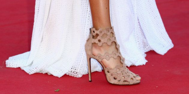 CANNES, FRANCE - MAY 20: Joan Smalls, shoe detail, attends the 'Youth' Premiere during the 68th annual...