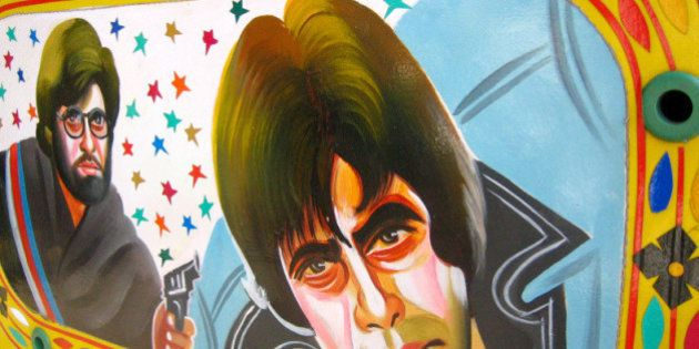 Instead of the usual Bollywood mudflaps this is a painting on the back window of a rickshaw. Its amazing...