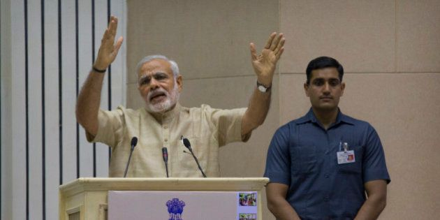 Indian Prime Minister Narendra Modi delivers the inaugural speech during an event to mark the national...