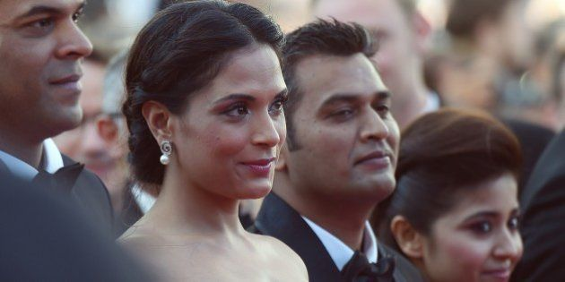 Indian producer Vikramaditya Motwane (L), Indian actress Richa Chadda (2ndL), Indian producer Manish...