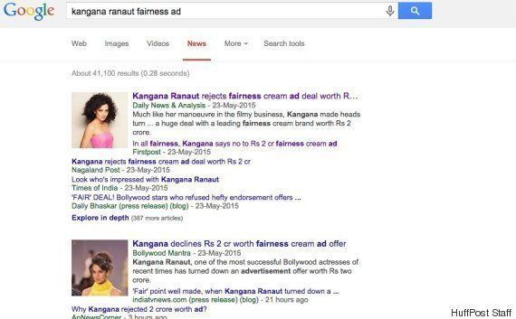 That Viral Story About Kangana Ranaut Rejecting A Fairness Cream Ad Is Nearly Two Years