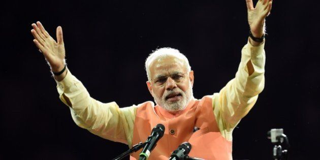 Prime Minister Narendra Modi of India speaks to supporters during a community reception September 28,...