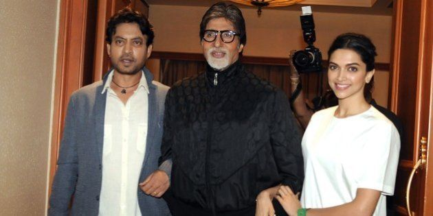 Indian Bollywood actors Irrfan Khan, (L), Amitabh Bachchan (C) and Deepika Padukone pose during the promotion...