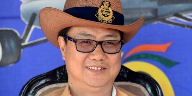 Junior Home Minister, Kiren Rijiju watches the induction ceremony for two Mi-17 V5 Helicopters into the...
