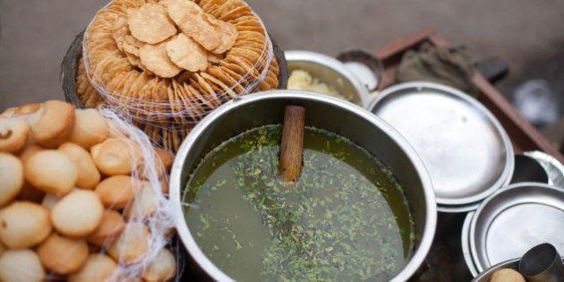 Close-up of pani poori is Street food of
