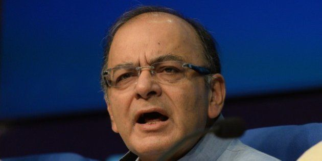 Indian Finance Minister Arun Jaitley addresses a press conference in New Delhi on May 22, 2015. India's...