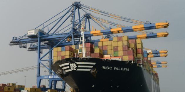 Containers are unloaded from the MSC Valeria, an ultra-large containership from the Mediterranean Shipping...
