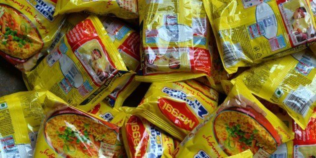 Nestle 'Maggi' instant noodles are photographed in a shop in the Indian capital New Delhi on June 3,...