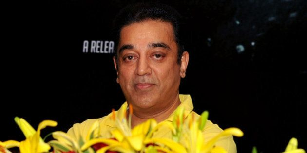 Indian Bollywood actor Kamal Haasan gestures during the promotion of the forthcoming dual language Tamil...