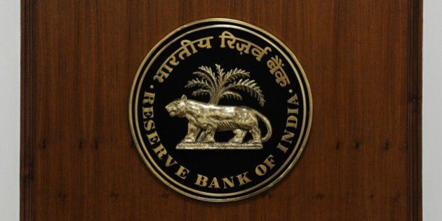 A logo of The Reserve Bank of India is pictured in New Delhi on August 10, 2014. AFP PHOTO/ SAJJAD HUSSAIN...