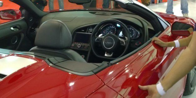 This is the view from close to the dashboard. This car was open to a few visitors to sit in, to get the...