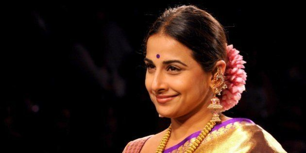 Indian Bollywood actress Vidya Balan showcases a creation by designer Gaurang on the second day of the...