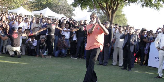 Bollywood actor Amitabh Bachchan tees off to inaugurate the 'Gujarat Kensville Challenge' at Kensville...