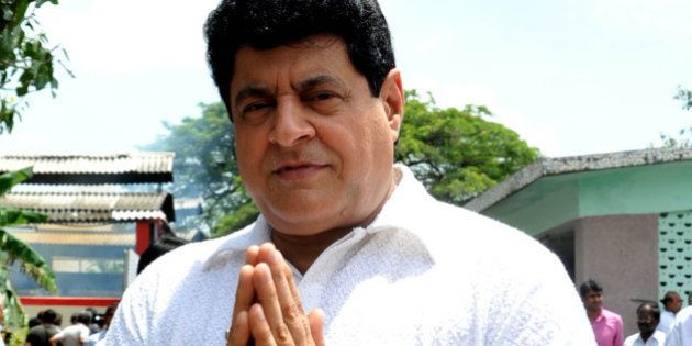 Indian actor Gajendra Chauhan attends the cremation ceremony of late veteran Bollywood actor A.K. Hangal in Mumbai on August 26, 2012. Bollywood veteran and favourite character actor A.K. Hangal, dubbed the 'grand old man' of Hindi cinema for his elderly roles, died on August 26 aged 95. AFP PHOTO/STR (Photo credit should read STRDEL/AFP/GettyImages)