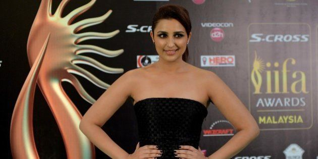 Bollywood Actress Parineeti Chopra poses on the green carpet as she arrives to attend the final day of...