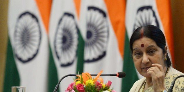 Indian Foreign Minister Sushma Swaraj addresses a press conference in New Delhi on May 31, 2015. Swaraj...