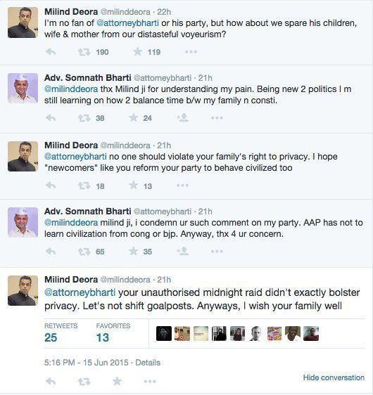 Milind Deora And Somnath Bharti's Friendly Twitter Exchange Ends Quite