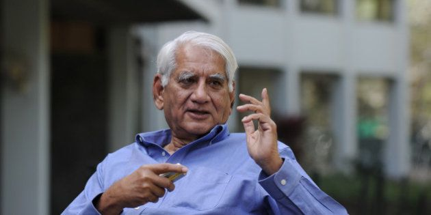 Indian architect Charles Correa gestures during an interview with AFP in New Delhi on March 7, 2012....