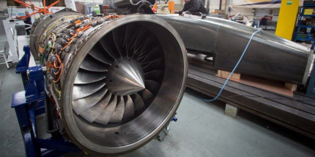 BRISTOL, ENGLAND - MARCH 05: A jet engine is seen as engineers work on the carbon-fibre body of the Bloodhound...