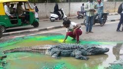 How A Bengaluru Artist's 'Crocodile' In The Middle Of A Busy Road Got A Pothole
