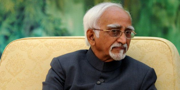 BEIJING, CHINA - JUNE 30: Indian Vice President Shri Mohammad Hamid Ansari talks as he meets with Chinese...