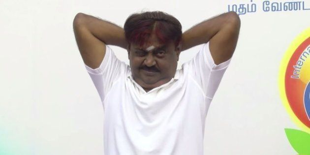 WATCH: Actor-Politician Vijayakanth Struggling To Get His Yoga Poses Right Is The Funniest Thing You'll...