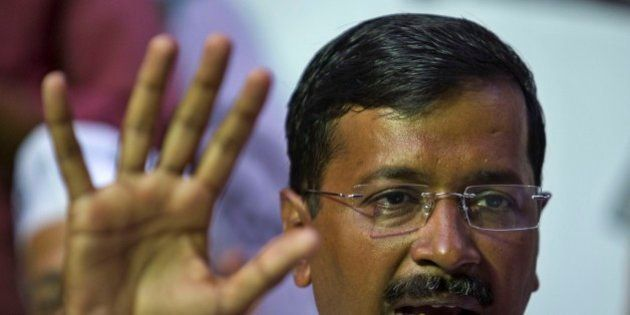 FILE- In this April 3, 2014 file photograph, India's Aam Aadmi Party (AAP), or common man party, chief...