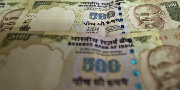 (FILES) - A file picture shows Indian Currency notes in New Delhi on December 7, 2011. India's central...