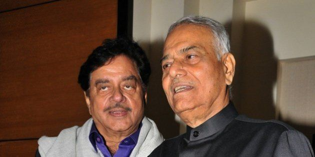 Indian Bollywood actor and politician Shatrughan Sinha (L) and politician and former finance minister...