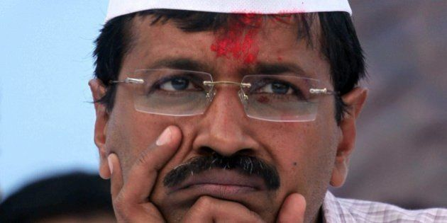 Leader of Aam Aadmi Party, or Common Man Party, and anti-graft activist Arvind Kejriwal leads an election...