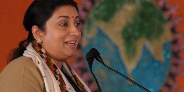 Minister of Human Resource Development, Smriti Zubin Irani addresses the Akhil Bharatiya Vidyarthi Parishad...