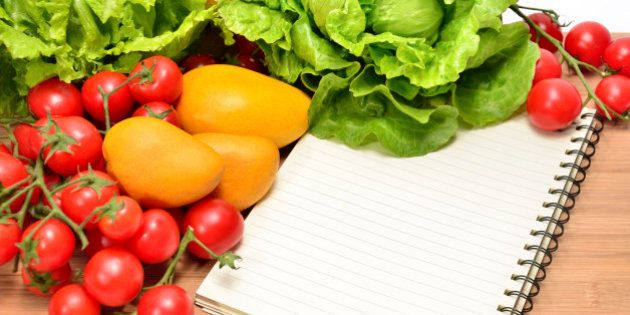Fresh vegetables and blank recipe