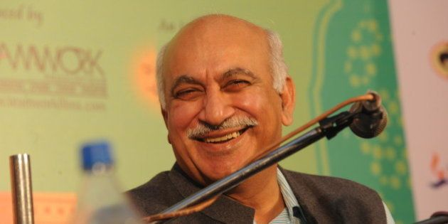 Indian journalist MJ Akbar participates in a debate entitled 'Kashmir Kashmir' during the third day of...