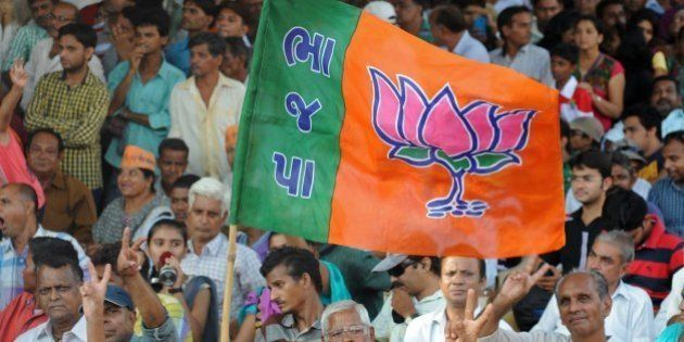 Bharatiya Janata Party (BJP) supporters wave a flag during a public rally by BJP prime ministerial candidate...